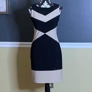 Joseph Ribbkoff Black/Tan Sheath Dress Color Block